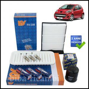 Kit Tagliando Filtri | Candele Per Peugeot 107 1.000 50kw/68cv dal 2005>