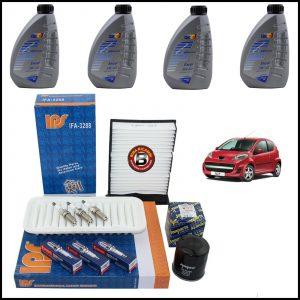 Kit Tagliando Olio | Filtri | Candele Per Peugeot 107 1.000 50kw/68cv dal 2005>