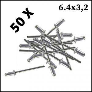 Assortimento 50 Rivetti In Alluminio 6.4 x 3.2 mm