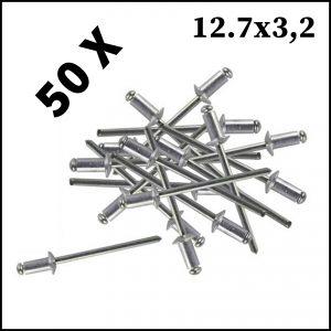 Assortimento 50 Rivetti In Alluminio 12.7 x 3.2 mm