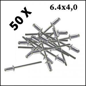 Assortimento 50 Rivetti In Alluminio 6.4 x 4.0 mm