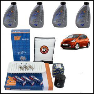 Kit Tagliando Olio | Filtri | Candele Per Toyota Aygo 1.000 50kw/68cv dal 2005>