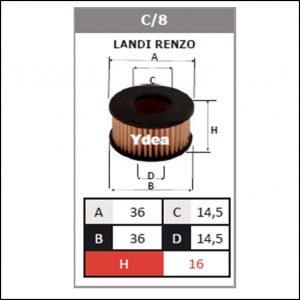 Filtro Gpl Impianto Landi Renzo art.C/8