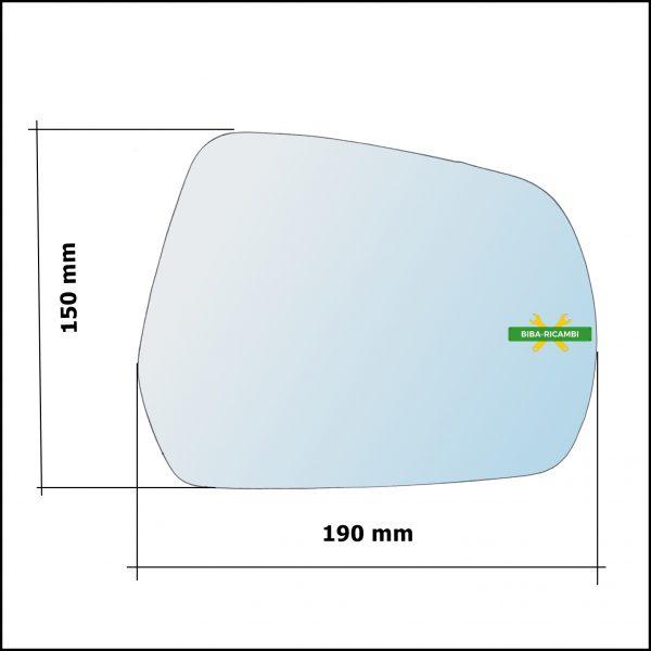 Vetro Specchio Retrovisore Cromato Lato Dx-Passeggero Per Great Wall Hover H6 dal 2017>