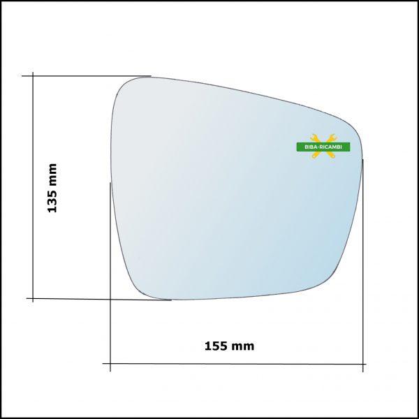Piastra Specchio Retrovisore Con Blind Spot Lato Dx-Passeggero Per Renault Kadjar (HA) dal 2015>