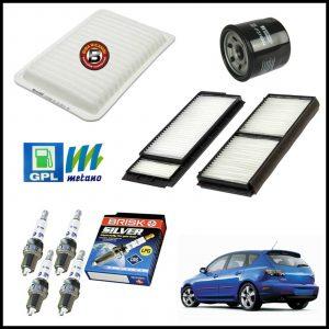 Kit Tagliando Filtri | Candele Per Mazda 3 1.400 59kw/80cv dal 2004>