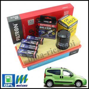 Kit Tagliando Filtri | Candele Per Fiat Qubo 1.400 Natural Power 57kw/78cv dal 2008>
