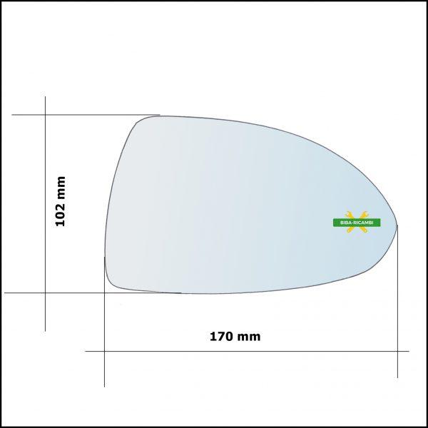 Vetro Specchio Retrovisore Cromato Asferico Lato Sx-Guidatore Per Opel Corsa E (X15) dal 2014>