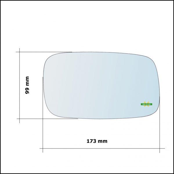 Vetro Specchio Retrovisore Cromato Asferico Lato Sx-Guidatore Per Saab 900 II dal 1993-2002