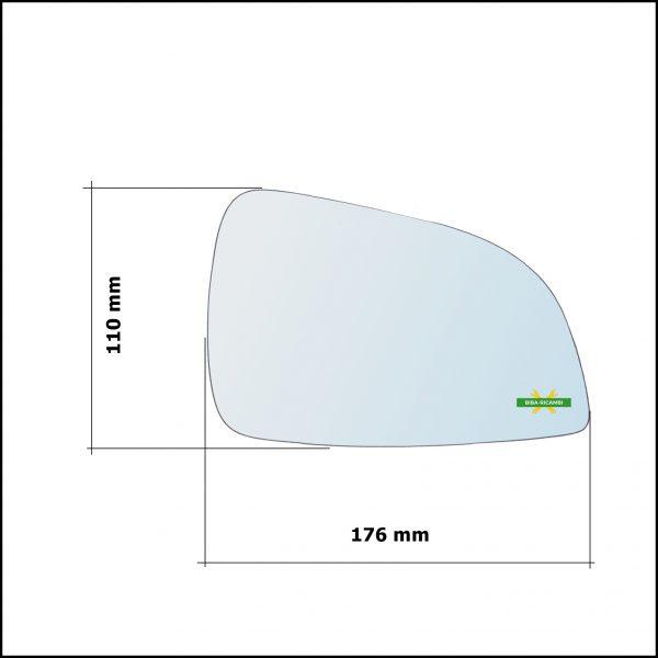 Vetro Specchio Retrovisore Cromato Lato Sx-Guidatore Per Opel Astra H (A04) solo dal 2009-2011 (specchio grande)