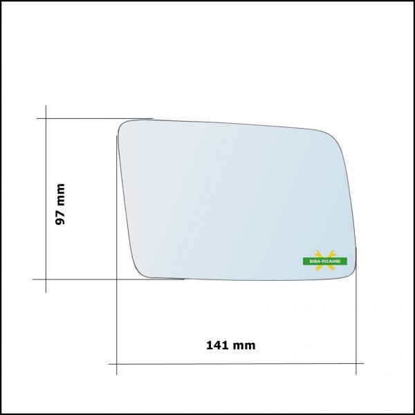 Vetro Specchio Retrovisore Cromato Lato Dx-Passeggero Per Opel Corsa A (S83) dal 1982-1993