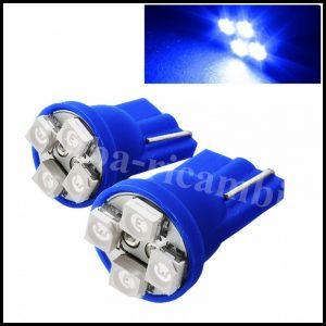 COPPIA LAMPADINE LED LUCI POSIZIONE TARGA INTERNI AUTO T10 4 SMD 1210 W5W 'BLU'