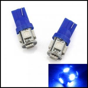 LAMPADINE LED LUCI POSIZIONE TARGA INTERNI AUTO T10 5 SMD W5W 'BLU'