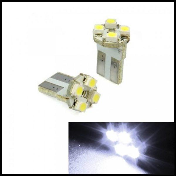 LAMPADINE LED LUCI POSIZIONE TARGA INTERNI AUTO T10 4 SMD 1210 W5W XENON 6000K BIANCO