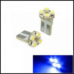LAMPADINE LED LUCI POSIZIONE TARGA INTERNI AUTO T10 4 SMD 1210 W5W XENON 6000K BLUE