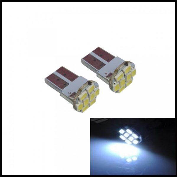LAMPADINE LED LUCI POSIZIONE TARGA INTERNI AUTO T10 8 SMD 1210 W5W XENON 6000K