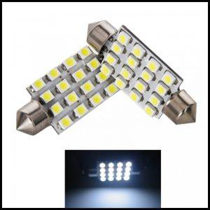 LAMPADINE LED LUCI TARGA INTERNI AUTO T11 SILURO 16 SMD C5W BIANCO