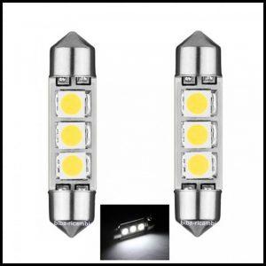 LAMPADINE LED LUCI TARGA INTERNI AUTO T11 SILURO 3 LED SMD C5W BIANCO