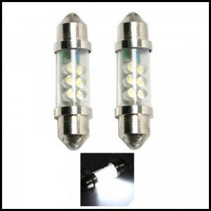 COPPIA LAMPADINE LED LUCI TARGA INTERNI AUTO T11 SILURO 6 LED C5W BIANCO