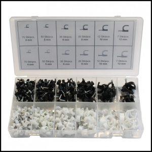 Silverline Set di clips per cavi 390 pezzi.
