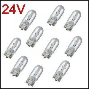 10 X LUCI DI POSIZIONE LAMPADINE TUTTO VETRO T10 24V