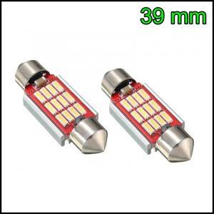 2 LAMPADINA LED SILURO C5W 39 mm CANBUS NO ERRORE 12 LED SMD 4014