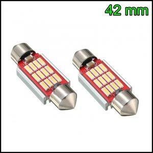 2 LAMPADINA LED SILURO C5W 42 mm CANBUS NO ERRORE 12 LED SMD 4014