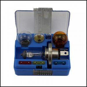 KIT Lampade D'Emergenza Alogene per Auto H4 P215W P21W T10 R5 + fuse
