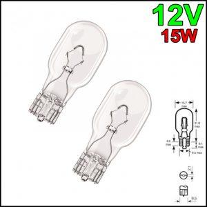 COPPIA LAMPADINA TUTTO VETRO T15 12V 15W W2,1×9,5d