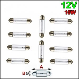 10 LAMPADINE SILURO 12V 10W SV-8,5 10x37mm