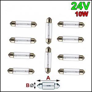 10 LAMPADINE SILURO 24V 10W SV-8,5 10x37mm