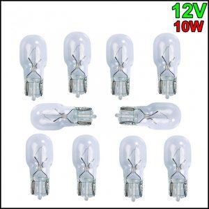 10 X LAMPADINA TUTTO VETRO T13 12V 10W W2,1×9,5d