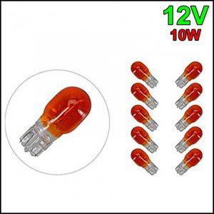 10 X LAMPADINA TUTTO VETRO ARANCIO T13 12V 10W W2,1×9,5d