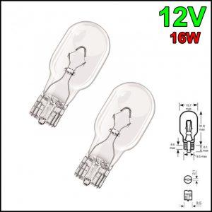 COPPIA LAMPADINA TUTTO VETRO W16W T15 12V 16W W2,1×9,5d