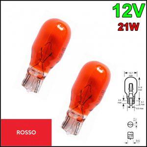 COPPIA LAMPADINA TUTTO VETRO COLORE ROSSA T15 12V 21W W2,1×9,5d