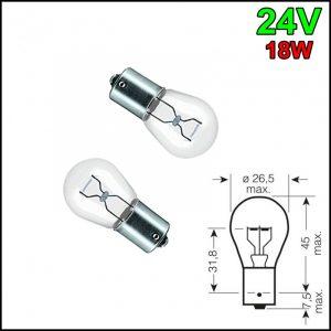 COPPIA LAMPADINA 1 FILAMENTO P21W 24V 18W BA15s