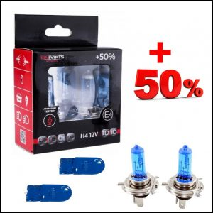 COPPIA LAMPADE H4 12V 60/55W + 2 T10 Effetto Xenon +50% Luce