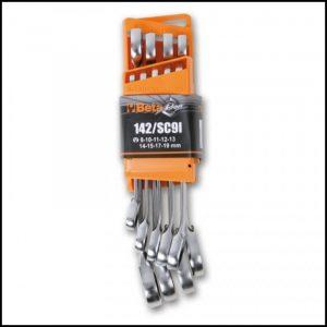 Serie di 9 chiavi combinate a cricchetto reversibile con supporto compatto
