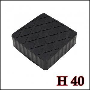 Tampone in gomma rettangolare di colore nero per ponti sollevatori altezza 40 mm