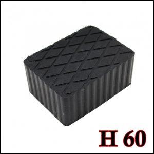 Tampone in gomma rettangolare di colore nero per ponti sollevatori altezza 60 mm