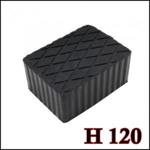 Tampone in gomma rettangolare di colore nero per ponti sollevatori altezza 120 mm