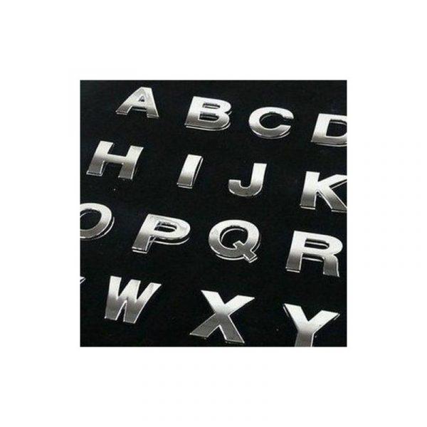 Lettera Adesiva Tridimensionale 3D Cromate Auto Moto Tuning (misure 27×23 mm)
