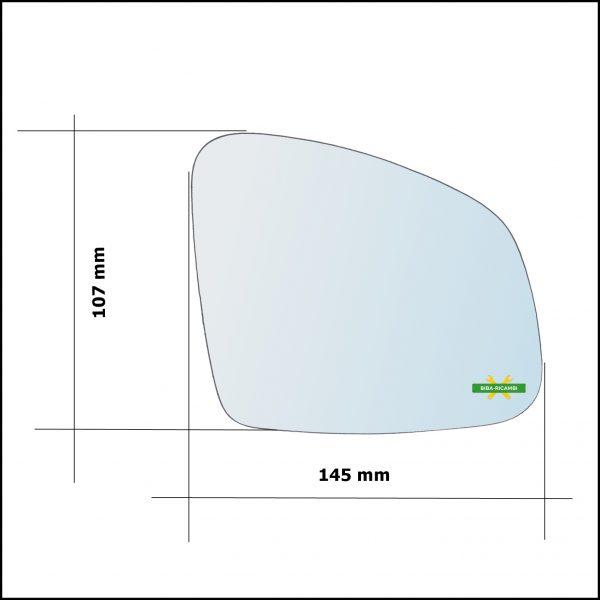 Vetro Specchio Retrovisore Cromato Asferico Lato Sx-Guidatore Per Smart ForTwo III (453) dal 2014>