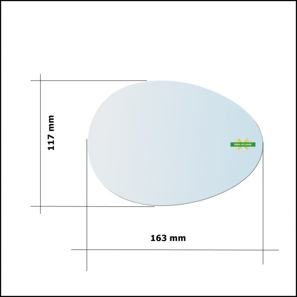 Vetro Specchio Retrovisore Asferico Lato Dx-Passeggero Per Mini Cooper (R60) Countryman dal 2010-2016