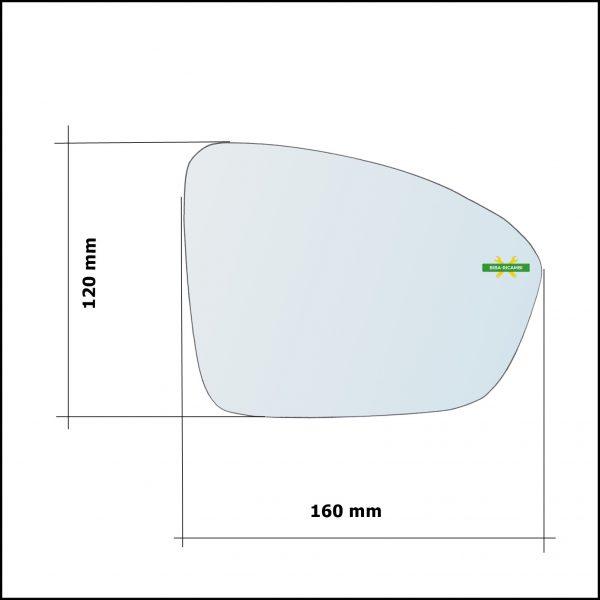 Piastra Retrovisore Termica Asferica Lato Sx-Guidatore Per Renault Megane IV dal 2015>